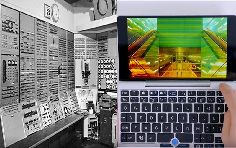 كمبيوتر لوحي مع شاشته على اليمين، فيما يملآ أول كمبيوتر تم اختراعه غرفة كاملة من دون أن يملك شاشة. المصدر: سي نت وكمبيوتر هوب.