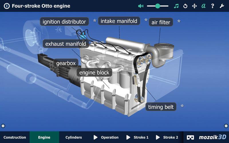 التطبيق يقدّم تعريفات وأسماء لكل جزء في المحرك. من المصدر