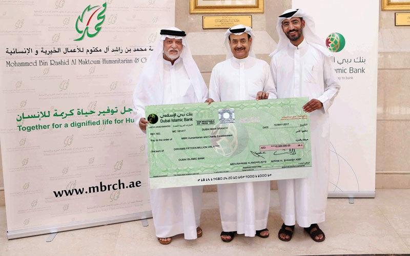 «دبي الإسلامي» يقدم 15 مليون درهم لـ «خيرية محمد بن راشد»