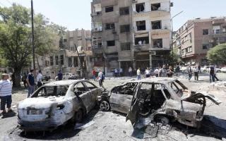 الصورة: مقتل 18 بتفجير انتحاري في دمشق