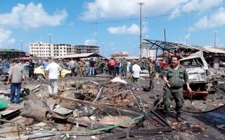الصورة: انفجار بقاعدة بحرية لجيش النظام في اللاذقية