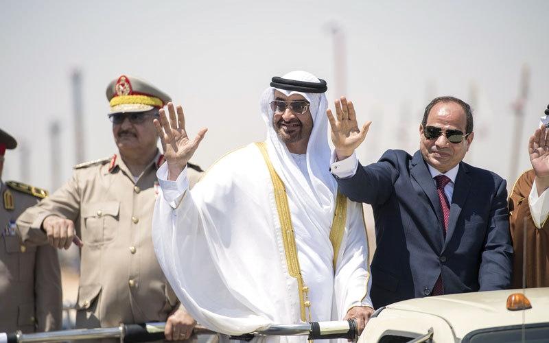 الصورة: محمد بن زايد يشهد افتتاح قاعدة «محمد نجيب العسكرية» في مصر