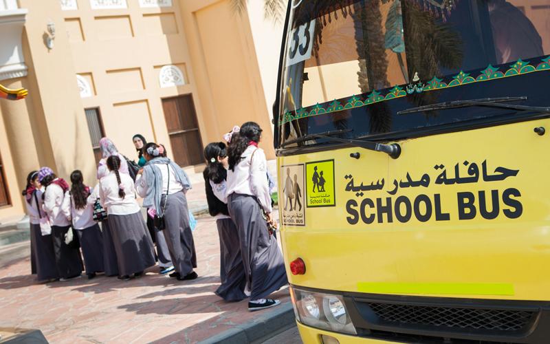 منظومة ذكية للسلامة في الحافلات المدرسية المنظومة الجديدة تتضمن تركيب كاميرات داخلية وخارجية. تصوير: أحمد عرديتي