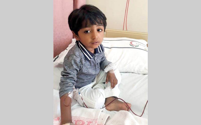 أعراض المرض ظهرت على «عبدالله» في سن 4 أشهر.  من المصدر