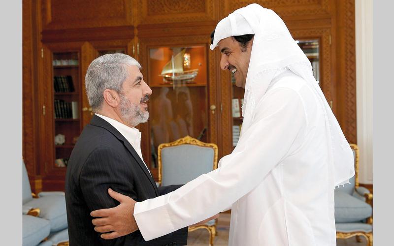 تميم بن حمد يستقبل مشعل في الدوحة. أرشيفية