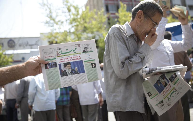 رائحة التهديد تزكم أنوف وسائل الإعلام الإيرانية.  غيتي