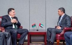 الصورة: عبدالله بن زايد يؤكد دعم الإمارات لليبيا وحكومة «الوفاق»