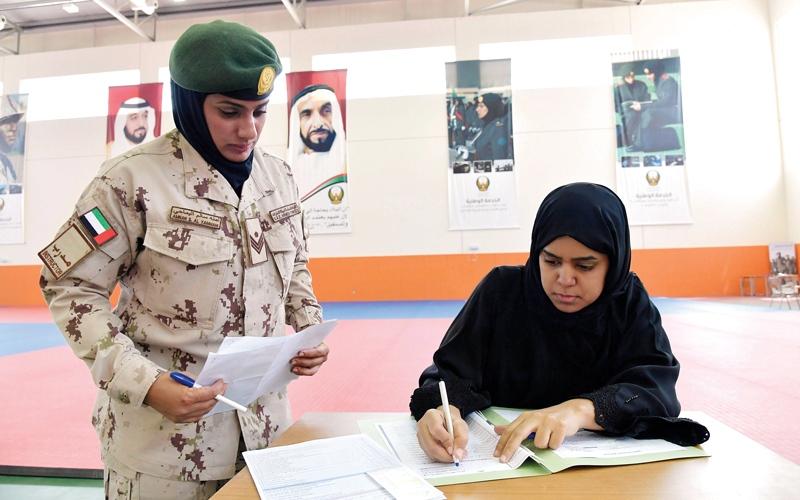 الصورة: «خولة بنت الأزور» تستقبــل الدفعة السادسة من منتسبات الخدمة الوطنيــة