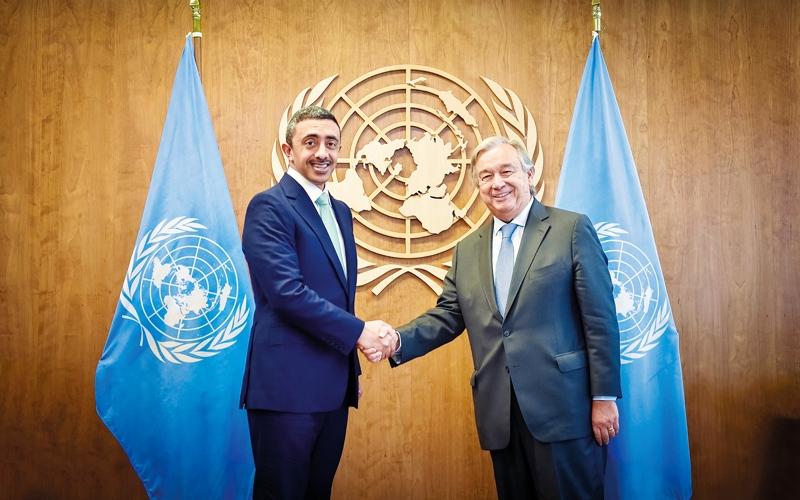 الصورة: عبدالله بن زايد: الإمــارات حريصة على مواصلة العمل مع الأمم المتحدة