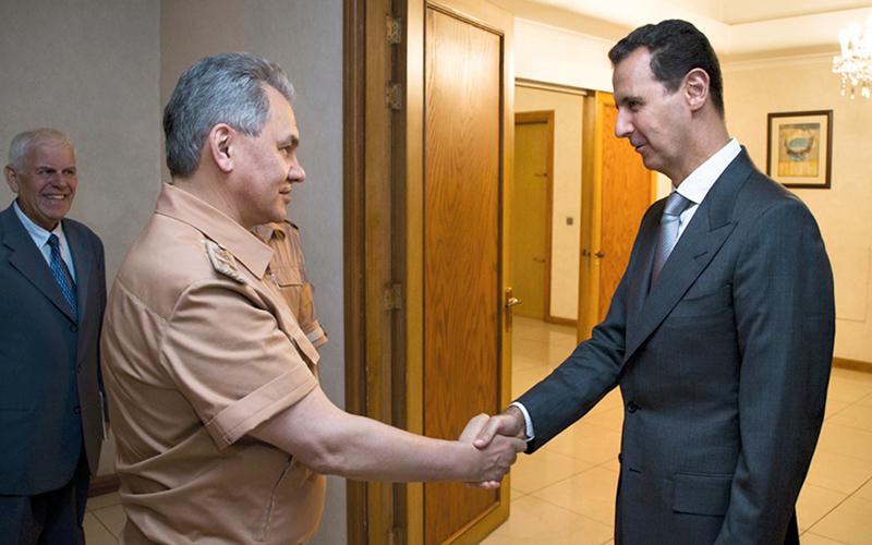 وزير الدفاع الروسي يلتقي بشار الأسد في دمشق. أ.ب