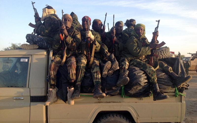 جنود من الجيش التشادي يقومون بدورية على الحدود ولطالما قال المراقبون إن هذا الجيش أكثر فاعلية من الجيش النيجيري. أ.ف.ب