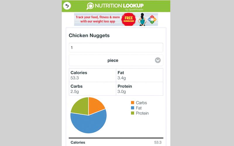 Nutrition Lookup.. للعثور على معلومات موثوقة عن الأغذية