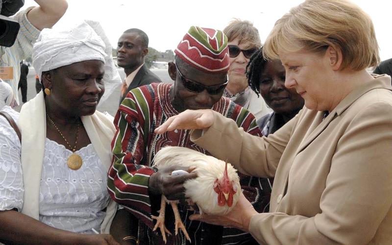 ميركل تتلقى دجاجة كهدية تجلب الحظ في ليبيريا. أرشيفية
