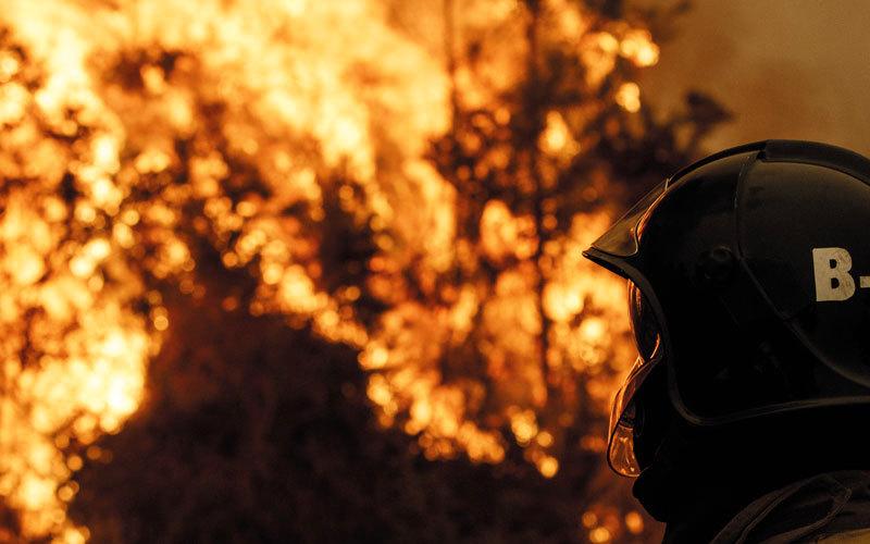 رجال الإطفاء يكافحون النيران. غيتي
