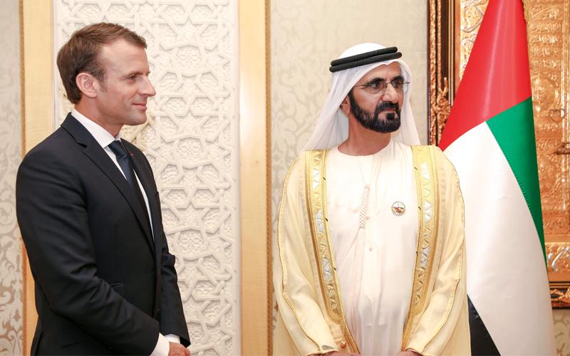 محمد بن راشد: زيارة ماكرون تاريخية وتتماشى مع صداقة الدولتين