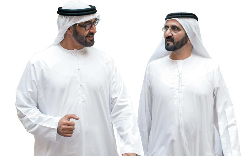 الصورة: محمد بن راشد ومحمد بن زايد : شكراً لكل من أسهم  بإيجابية في إسعاد الإنسان ورفعة الوطن