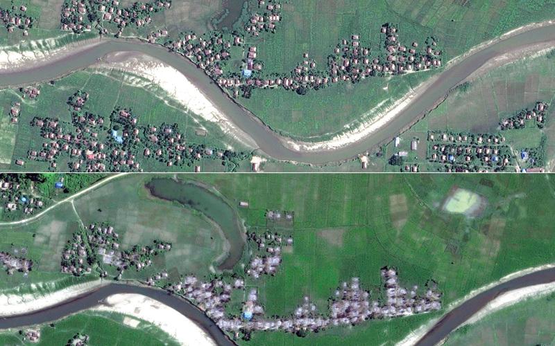صورة بالأقمار الاصطناعية لعشرات القرى التي دمّرتها الحكومة البورمية بعد أن شرّدت سكانها من مسلمي الروهينغا. أ.ف.ب