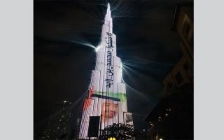 """الصورة: بالفيديو...""""شكرا محمد بن زايد"""" تزين برج خليفة"""
