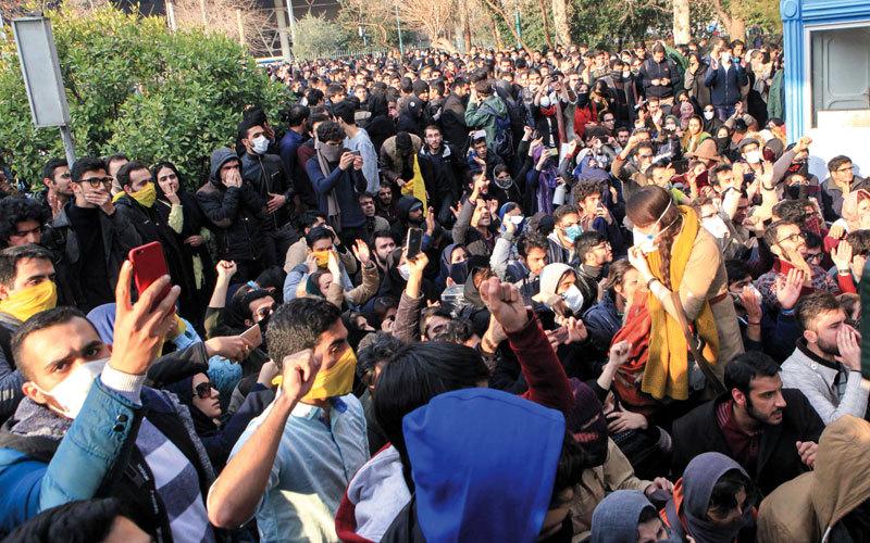 الاحتجاجات طالبت بإطاحة النظام للمرة الأولى. أ.ف.ب