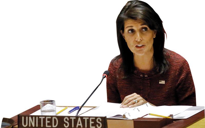 هايلي خلال جلسة للجمعية العامة للأمم المتحدة للتصويت على رفض قرار ترامب بشأن القدس. أ.ب