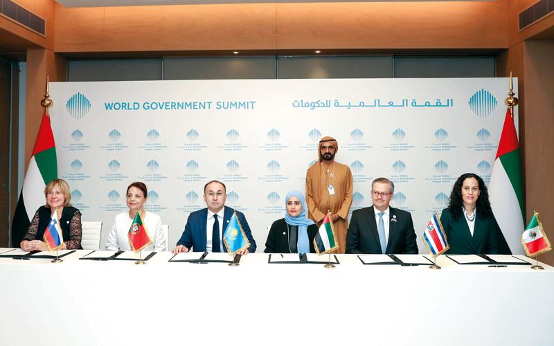 محمد بن راشد شهد إطلاق التحالف العالمي للسعادة. وام