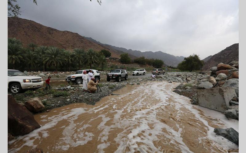 من امطار الرحمة اليوم على وادي سهم في إمارة الفجيرة