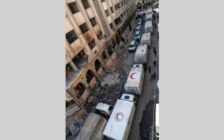 الصورة: قافلة مساعدات تدخل إلى الغوطـة رغـــم القصف.. والأمم المتحدة تحذر من ظروف «أسـوأ» للمدنيين