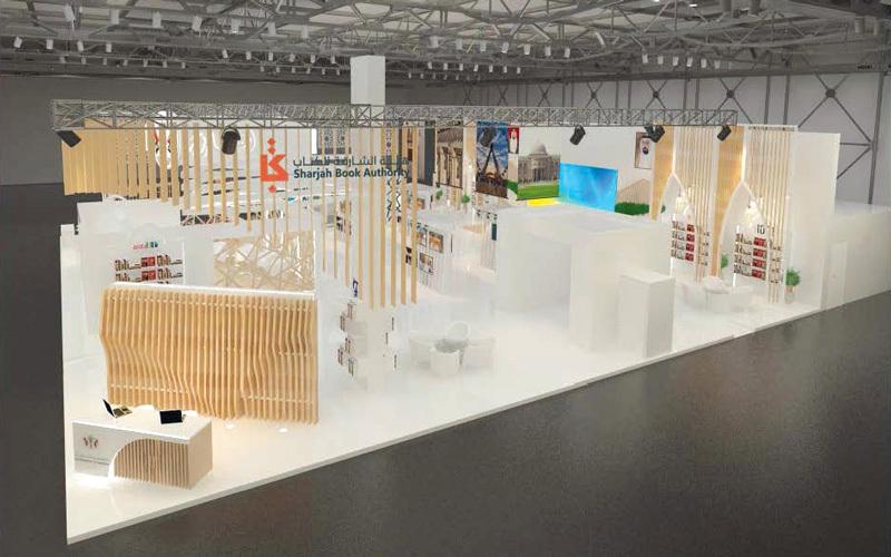 صورة لتصميم جناح الشارقة المشارك في معرض باريس للكتاب.  من المصدر