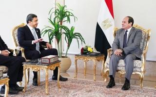 الصورة: السيسي وعبدالله بن زايد يبحثان القضايا الإقليمية وجهود مكافحة الإرهاب