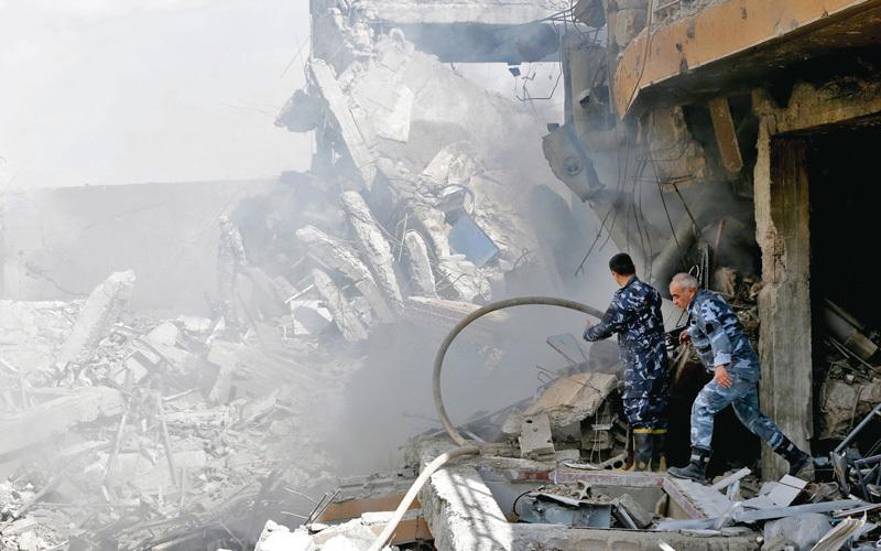 صورة لما قيل إنه مركز أبحاث البرزة شمال دمشق الذي تعرض للقصف من قبل القوات الأميركية والفرنسية والبريطانية.  أ.ف.ب