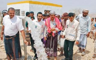 الصورة: «الهلال» تفتتح مشروع مياه صعيد باقادر بمديرية ميفعة في شبوة
