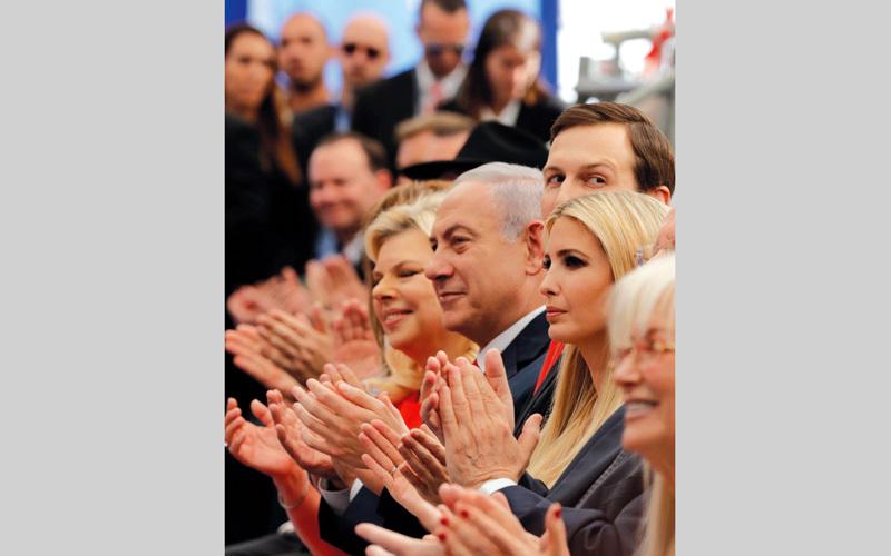 نتنياهو يبدو منتشياً أثناء الاحتفال بنقل السفارة الأميركية إلى القدس. رويترز