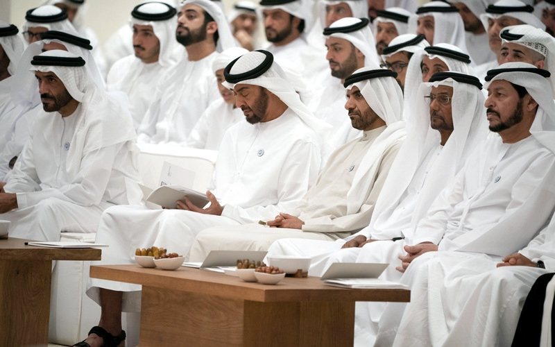 الصورة: محمد بن زايد يشهد أولى محاضرات مجلسه خلال شهر رمضان