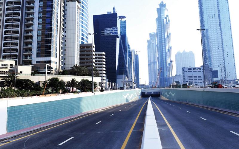 نفق على شارع السعادة في منطقة الخليج التجاري. من المصدر