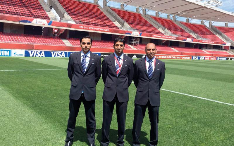 محمد عبدالله حسن ومحمد أحمد وحسن المهري يستعدون لإدارة مباريات مونديال روسيا.  من المصدر