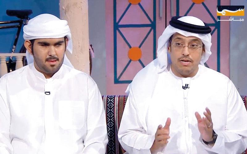 عبدالله إسماعيل ومايد الجناحي في برنامج «المندوس». من المصدر