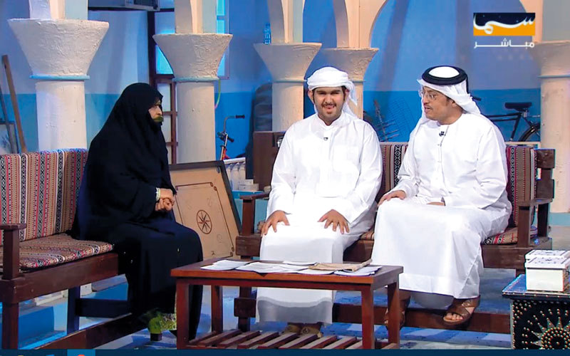 مايد الجناحي مشاركاً في برنامج «المندوس» على «سما دبي». من المصدر