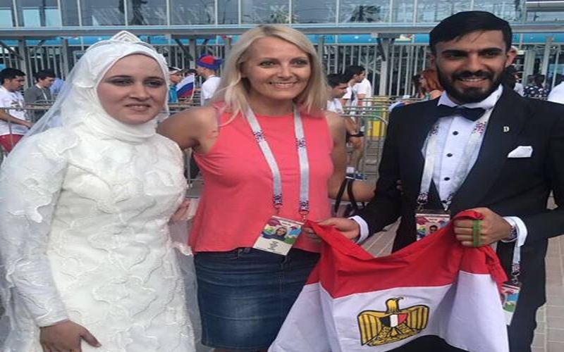 48dc95531a08d بالفيديو  حفل زفاف بملعب مباراة مصر أمام السعودية - الإمارات اليوم