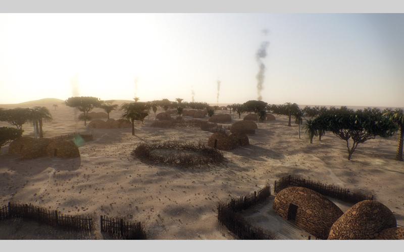 صورة افتراضية لما كانت عليه قرية جزيرة مروح قبل 8000 عام. من المصدر