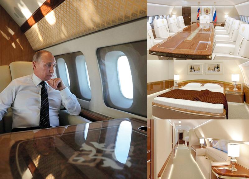 صور تظهر مدى فخامة تصميم الطائرة الداخلي.. وبوتين ينظر من النافذة.  من المصدر