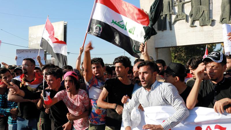 الاحتجاجات العراقية اتسمت بالطابع السلمي في البداية.  إي.بي.إيه