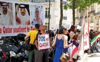 الصورة: تظاهرات ووقفات احتجاجية في لندن اليوم ضد زيارة أمير قطر