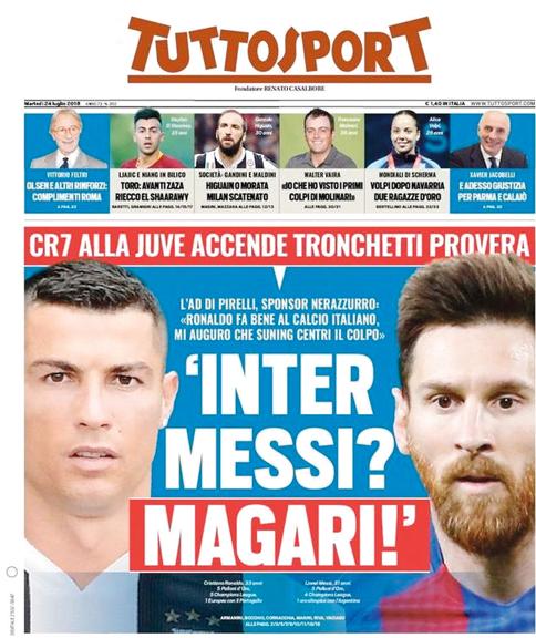 غلاف «توتو سبورت» الإيطالية يتحدث عن إمكانية ظهور ميسي مع رونالدو في الدوري الإيطالي.