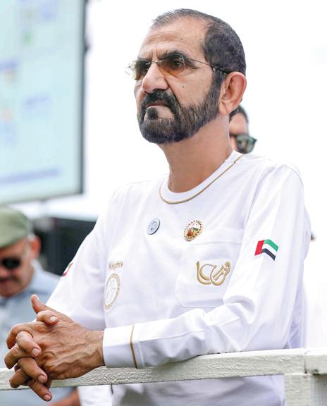 محمد بن راشد خلال متابعته مهرجان القدرة. وام