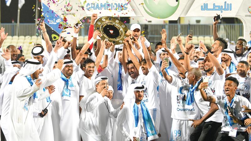 بني ياس فاز بدوري الدرجة الأولى الموسم الماضي وصعد إلى دوري المحترفين. تصوير: نجيب محمد