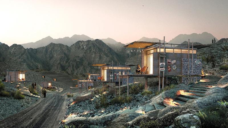 20 غرفة فندقية جبلية ستضيفها «مراس» إلى مشاريع حتا السياحية. من المصدر