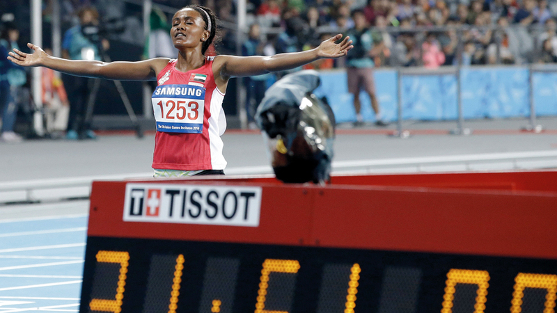علياء سعيد توجت بذهبية 10 آلاف متر في دورة إنشيون بكوريا الجنوبية 2014. أ.ب