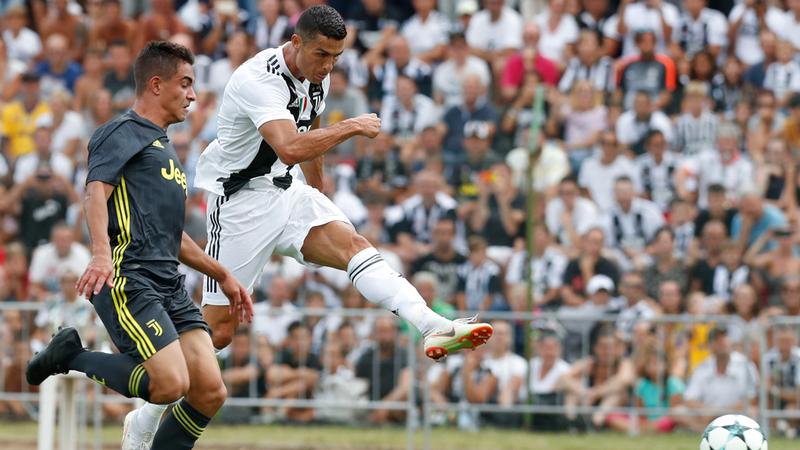 رونالدو سجل في مباراة ودية فقط خاضها مع اليوفي.  أ.ب