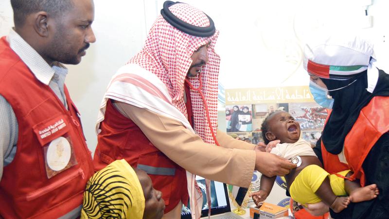 حملة «الشيخة فاطمة العالمية» تضمنت استخدام عيادات متنقلة ومستشفيات ميدانية. من المصدر