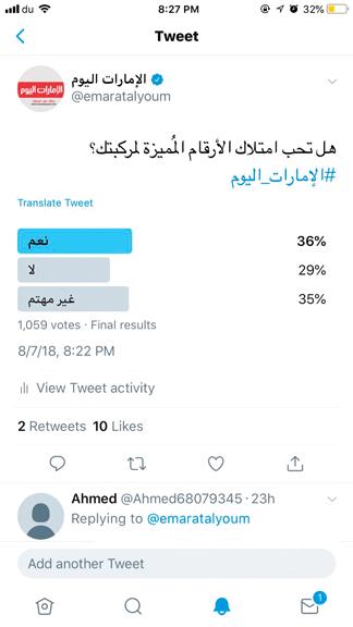الاستطلاع أظهر أن 35% من المشاركين غير مهتمين باقتناء الأرقام المميزة. الإمارات اليوم